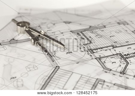 architecture blueprint -  house plan & compass