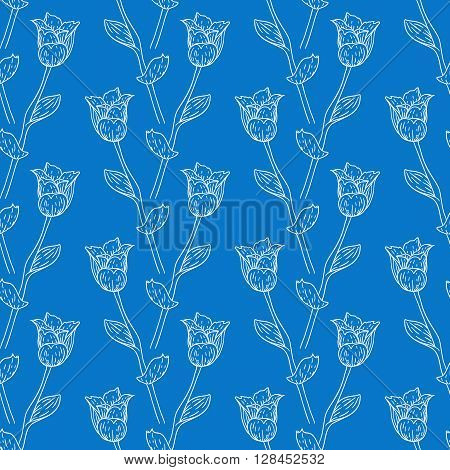 Seamless pattern with tulips branches. Pencil sketch collection vector illustration. Hand drawn floral print for summer spring fashion textile. Tiling background with flowers, vines and leaves in blue