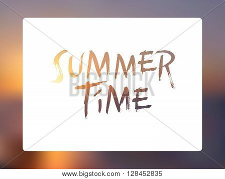 Summer designed white banner with sunset sky blurred background and Summer Time type set. Blurred sunset background.