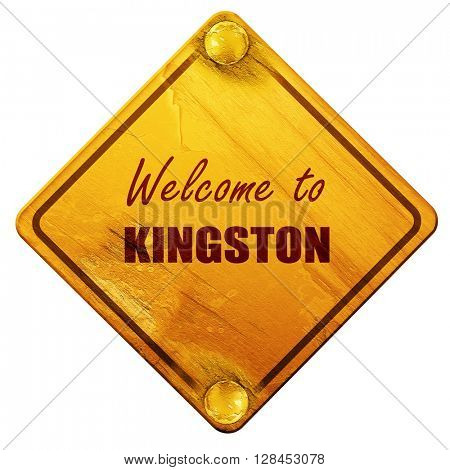 Welcome to kingston, 3D rendering, isolated grunge yellow road s