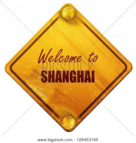 Welcome to shanghai, 3D rendering, isolated grunge yellow road s