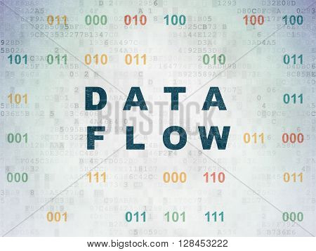 Data concept: Painted blue text Data Flow on Digital Data Paper background with Binary Code