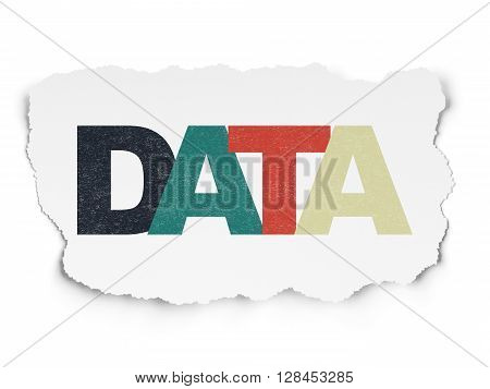 Data concept: Painted multicolor text Data on Torn Paper background