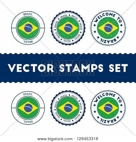 Brazilian Flag Rubber Stamps Set. National Flags Grunge Stamps. Country Round Badges Collection.