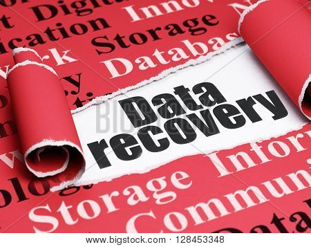 Information concept: black text Data Recovery under the curled piece of Red torn paper with  Tag Cloud, 3D rendering