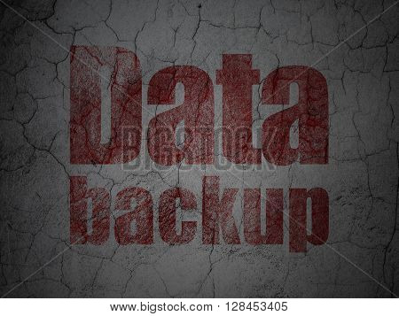 Data concept: Red Data Backup on grunge textured concrete wall background