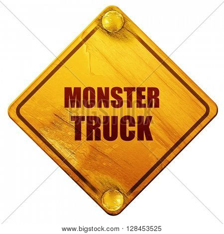 monster truck sign background, 3D rendering, isolated grunge yel