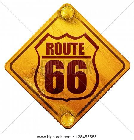 Route 66 sign, 3D rendering, isolated grunge yellow road sign