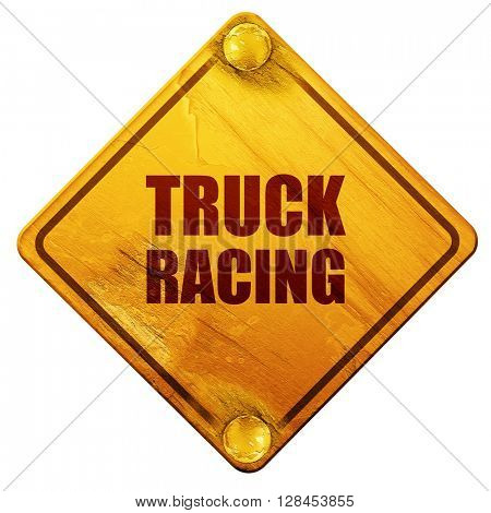 truck racing background, 3D rendering, isolated grunge yellow ro