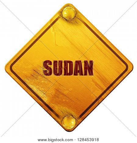Greetings from sudan, 3D rendering, isolated grunge yellow road