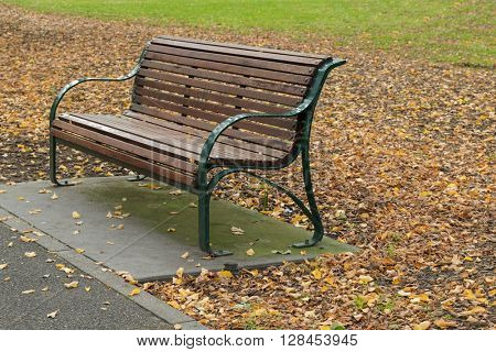A wooden bench along the path with fallen dried leaves during Autumn season