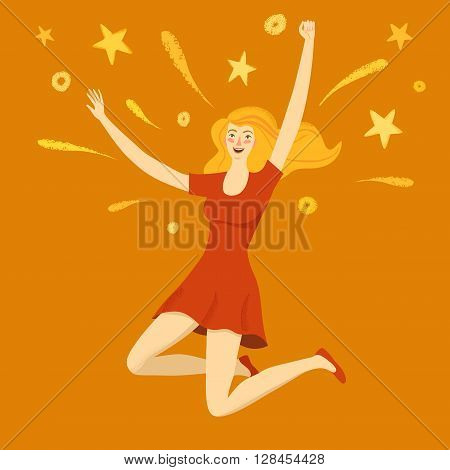 Happy girl jumping with sparks. Feelings of happiness joy and success. Conceptual cartoon illustration for your design.