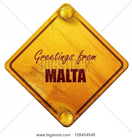 Greetings from malta, 3D rendering, isolated grunge yellow road