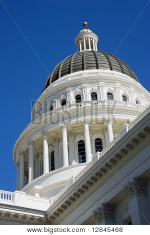 Low angle of the dome at the Sacramento Capitol building, California, USA.