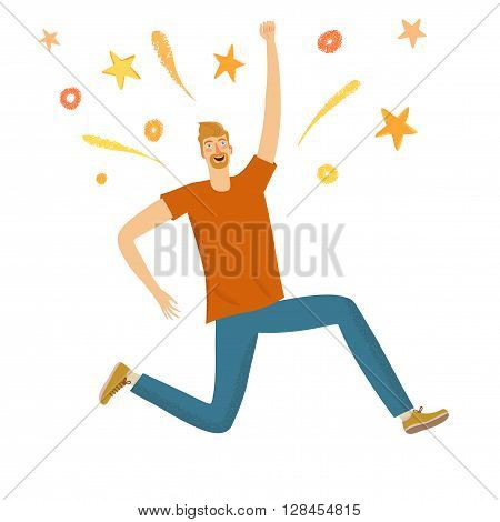 Happy boy jumping with sparks. Feelings of happiness joy and success. Conceptual cartoon illustration for your design.