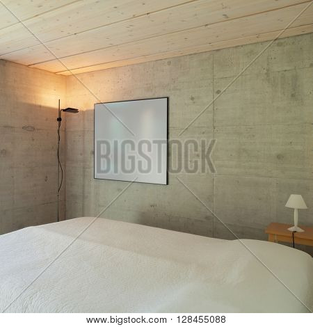 Interiors, modern bedroom of a chalet, detail