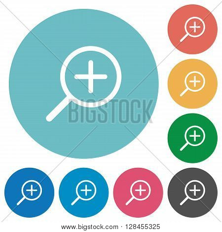 Flat zoom in icon set on round color background.