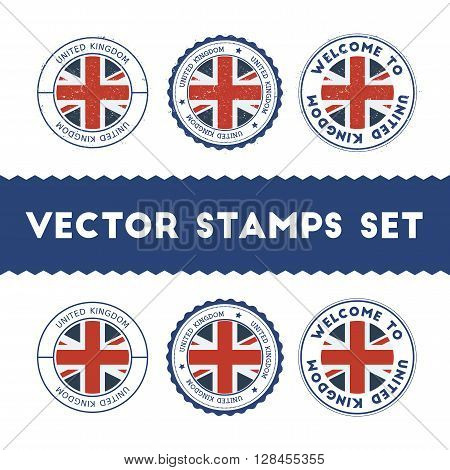 British Flag Rubber Stamps Set. National Flags Grunge Stamps. Country Round Badges Collection.