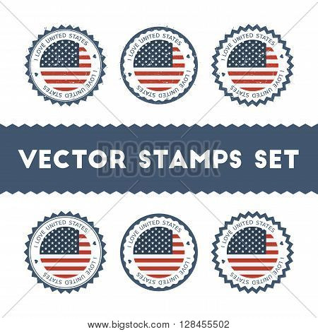 I Love United States Vector Stamps Set. Retro Patriotic Country Flag Badges. National Flags Vintage