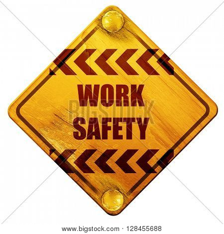 Work safety sign, 3D rendering, isolated grunge yellow road sign