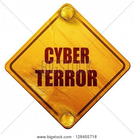 Cyber terror background, 3D rendering, isolated grunge yellow ro