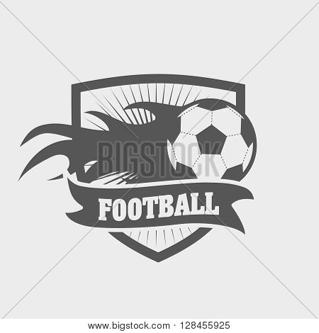 Soccer Or Football Logo, Label Or Badge Concept With Shield And Ball On Fire