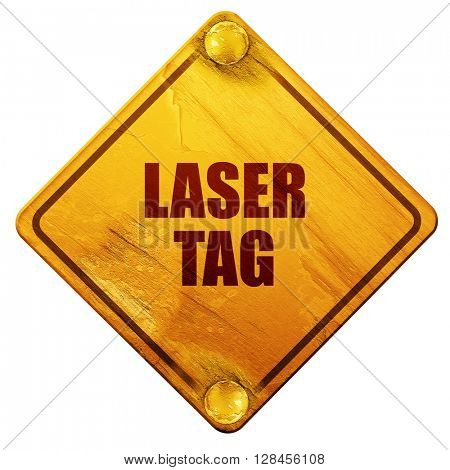 laser tag sign background, 3D rendering, isolated grunge yellow