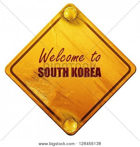 Welcome to south korea, 3D rendering, isolated grunge yellow roa