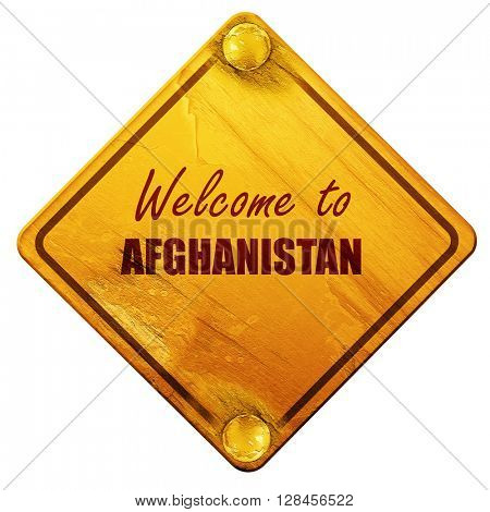 Welcome to afghanistan, 3D rendering, isolated grunge yellow roa