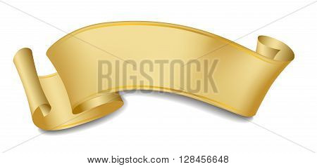 Scroll, ribbon, label, banner with gold gradients.