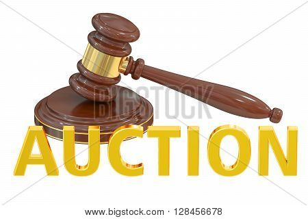 Auction concept with wooden gavel 3D rendering