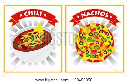 chili and nachos illustration vector design label