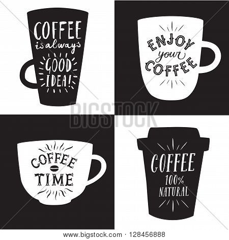 Coffee to go textured cartoon illustrations set with hand drawn lettering on different cups. Vintage coffee illustrations for your design.