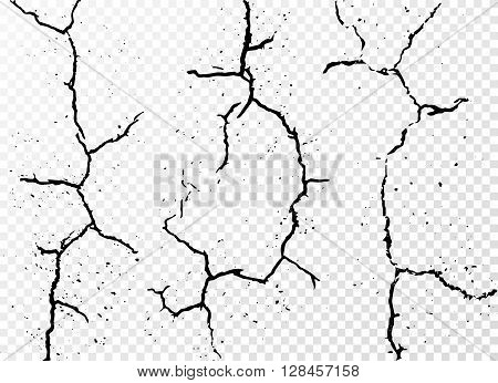 Set of vertical realistic wall cracks isolated on white transparent background. Vector illustration