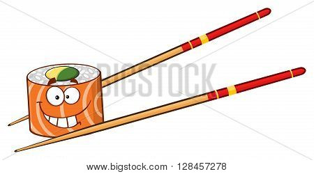 Smiling Sushi Roll Cartoon Mascot Character With Chopsticks. Illustration Isolated On White