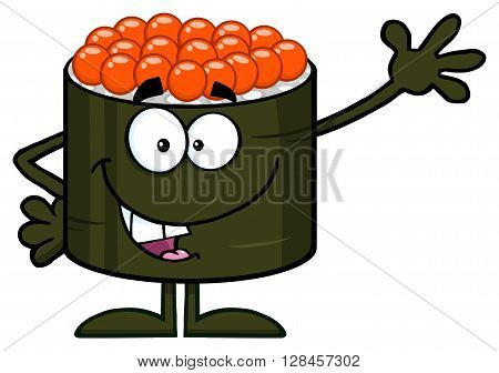 Cute Sushi Roll Cartoon Mascot Character Waving. Illustration Flat Style Isolated On White