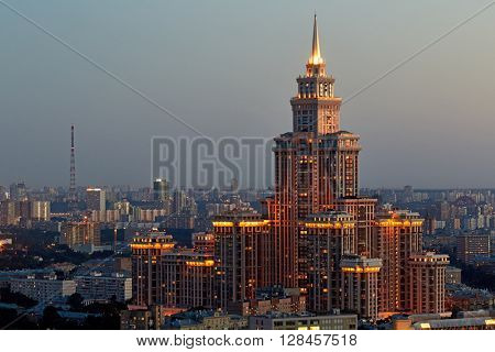 MOSCOW, RUSSIA - JUL 4, 2015: Residential complex Triumph Palace at night. Building height is 264 meters.