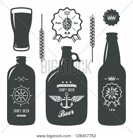 vintage craft beer brewery bottles label sign set