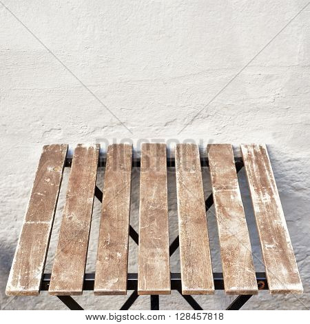 outdoor table near the wall at coffee shop, Bergen, Norway