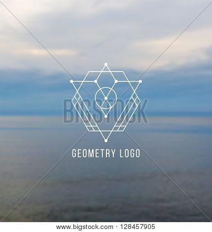 Hipster outline logo, badge, design elements on blur background. Vector illustration