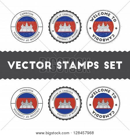 Cambodian Flag Rubber Stamps Set. National Flags Grunge Stamps. Country Round Badges Collection.