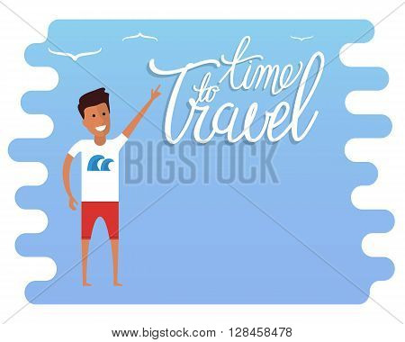 Summer travel advertisement. Travel time sign. Travel agency advertisement with place for text. Flat vector travel illustration.