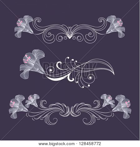 Set of vintage floral elements for design with flowers lily.