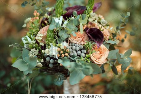 Still Life of Bride's Pink Orange and White Bouquet
