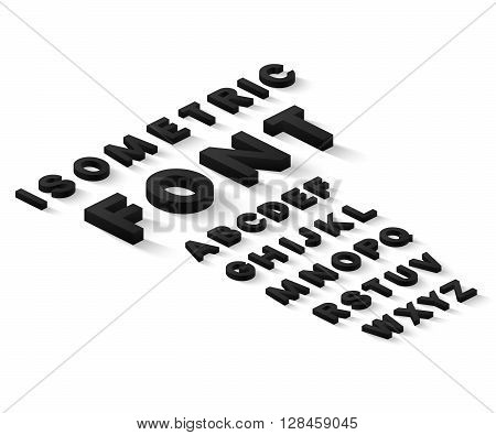 Black 3d isometric font alphabet with drop shadow on white background. Vector illustration