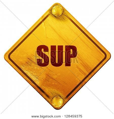 sup internet slang, 3D rendering, isolated grunge yellow road si