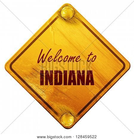 Welcome to indiana, 3D rendering, isolated grunge yellow road si