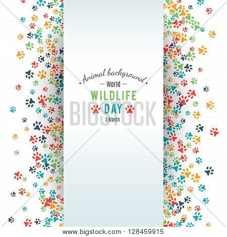 Wildlife day poster. Abstract banner promotion of world wild life day. Ecology and environment protection concept. Dog or cat pet footprints. Animal background. Footstep. illustration
