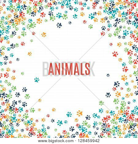 Colorful animal footprint ornament border isolated on white background. illustration for animal design. Random foot prints frame. Many bright trail. Frame of cute paw trace. World wildlife day