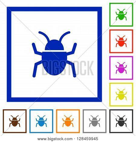Set of color square framed bug flat icons on white background